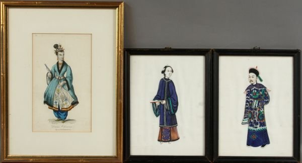 3024: (3) Chinese Paintings, 2 on Silk, 1 w/c on Paper