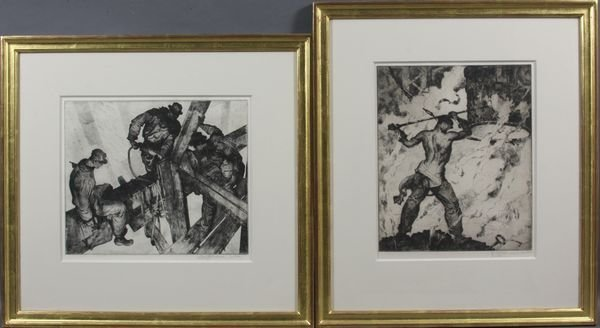 3036: (2) James Allen Steel Worker Etchings