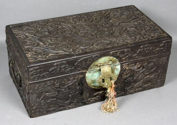 3038: 19th C. Asian Box Heavily Carved with Dragons