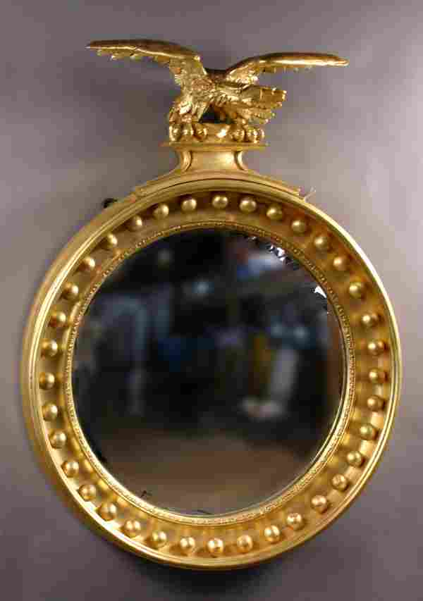 EARLY 19TH CENTURY FEDERAL CONVEX MIRROR