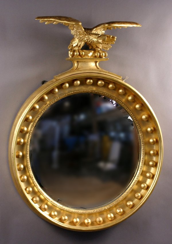 3: EARLY 19TH CENTURY FEDERAL CONVEX MIRROR