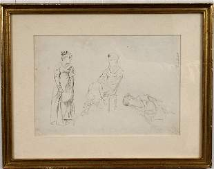 SIGNED EDMUND CHARLES TARBELL DRAWING