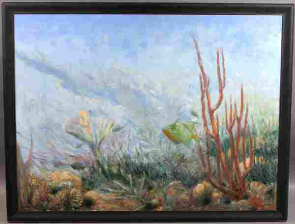 SIGNED G. MARCHAND OIL ON BOARD UNDER THE SEA