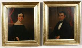 102 19 TH C AMERICAN OIL ON BOARDS HUSBAND  WIFE
