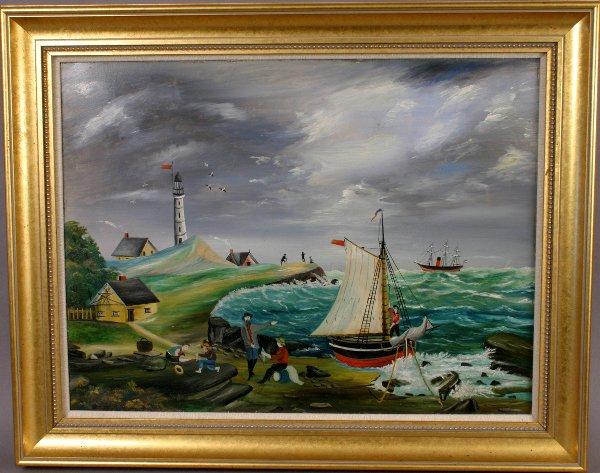 135: SIGNED 19TH C. NAUTICAL F0LK ART OIL ON BOARD