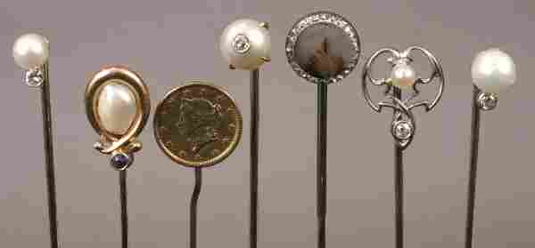 SEVEN ASSORTED ANTIQUE STICK PINS GOLD, PEARL