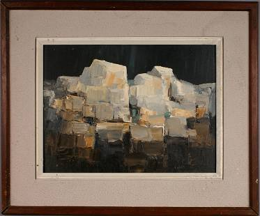SIGNED CROFT OIL ON BOARD ABSTRACT