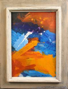 SIGNED M. AXELROD ABSTRACT OIL ON PAPER
