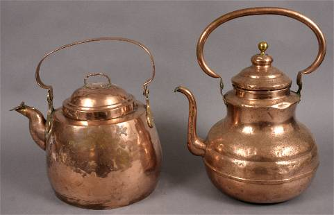 TWO 19TH CENTURY COPPER HOT WATER KETTLES