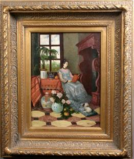 SIGNED 20TH CENTURY OIL ON BOARD WOMAN READING