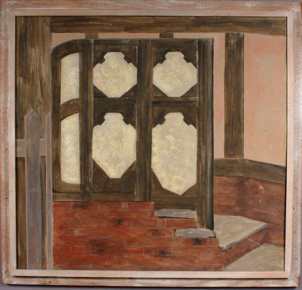 SIGNED A.E.S. PETERSON GOUACHE INTERIOR DOOR