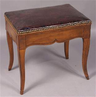 19TH CENTURY FRENCH BENCH WITH LEATHER UPHOLSTERY