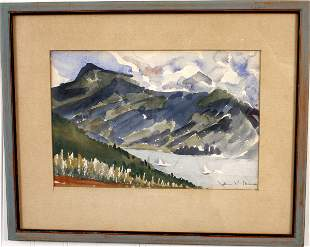 SIGNED JOHN K. MASON WATERCOLOR OF LAKE