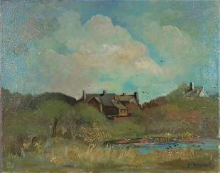 SIGNED GIOVANNI OIL ON CANVAS HOUSE IN MARSH