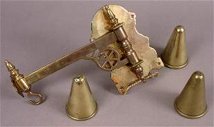 19TH CENTURY BRASS KETTLE HOLDER AND CHEESE MOLDS