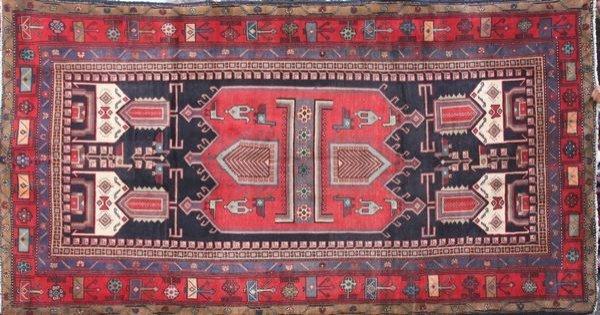 "4002: Persian Hamadan rug, 9'4"" x 5'."