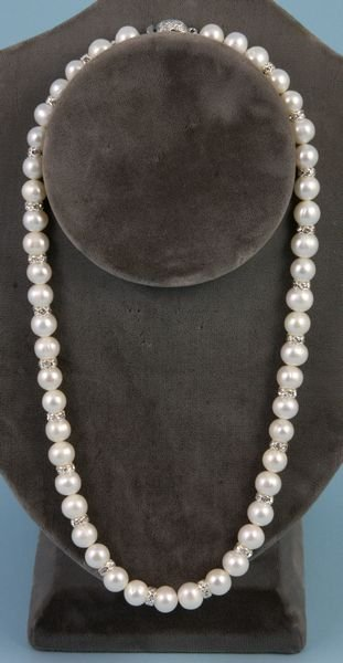 """4003: Ladies white pearl necklace, 16"""" l., 7-8 mm"""
