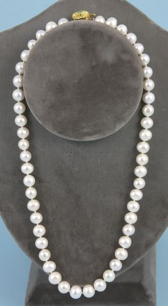 """4017: Ladies white pearl necklace, 16"""" l., 7-8 mm."""