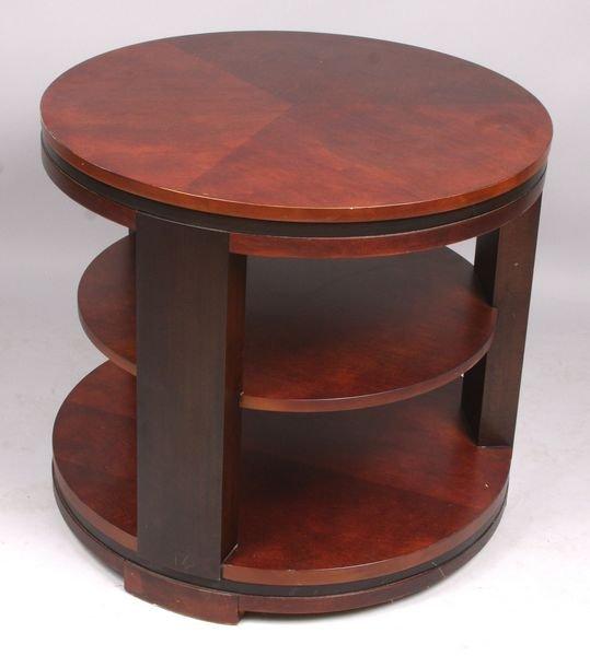"4010: 20th C. Deco mahogany table, 25"" x 28"" diam."