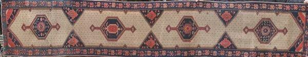 "4015: Antique Kurdish rug, 13'5"" x 2'6"""