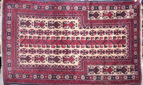 "4019: Tribal prayer rug, 4'8"" x 2'11"""