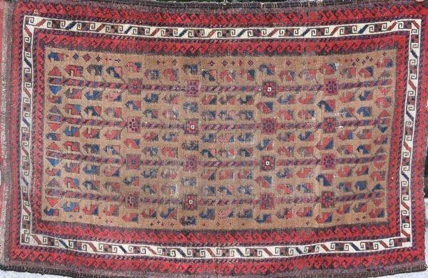 """4013: Antique Balouche rug, 2'5"""" x 3'8"""""""