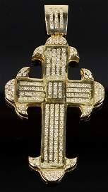 14K Yellow Gold and Diamond Cross Pendant