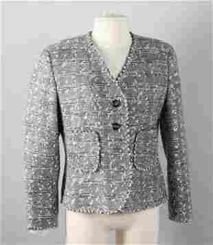 Chanel Boutique Grey Metallic Tweed Jacket