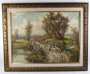 Fox Hound Hunting Scene, Oil on Canvas