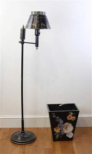 Tole Floor Lamp and Wastebasket