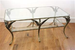 Old French Classical Bronze Glass Top Table