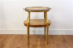 Russian Inlaid Two-Tier Tray Table