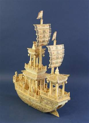 Chinese Carved Bone Boat