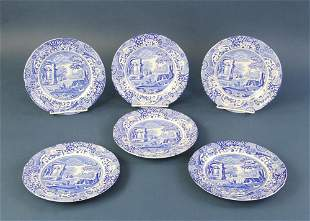 English Spode Blue and White Plates