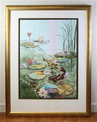 Patricia Lynch, Lily Pond with Koi, Watercolor