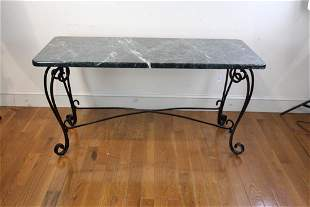 Wrought Iron Marble Top Table, Painted Black