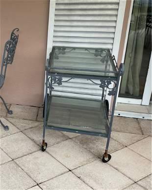 Metal Patio Tea Cart on Wheels