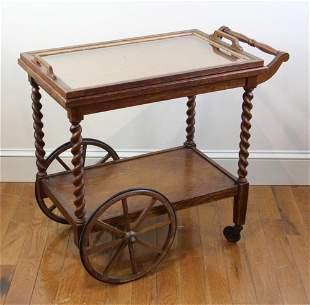 Antique Oak Tea Cart Branded Stickley