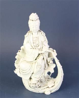 Chinese Blanc-de-Chine Sitting Guanyin