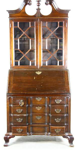 Chippendale Style Block Front Desk