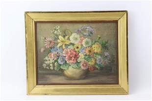 Edith Miller, Still Life of Bouquet, Oil on Canvas