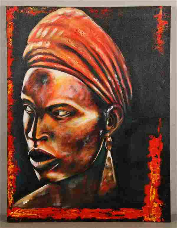 Portrait of an African Woman, Acrylic on Canvas