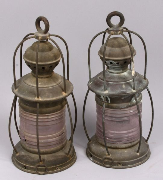 Pair of 19th-early 20th C. brass ships lanterns
