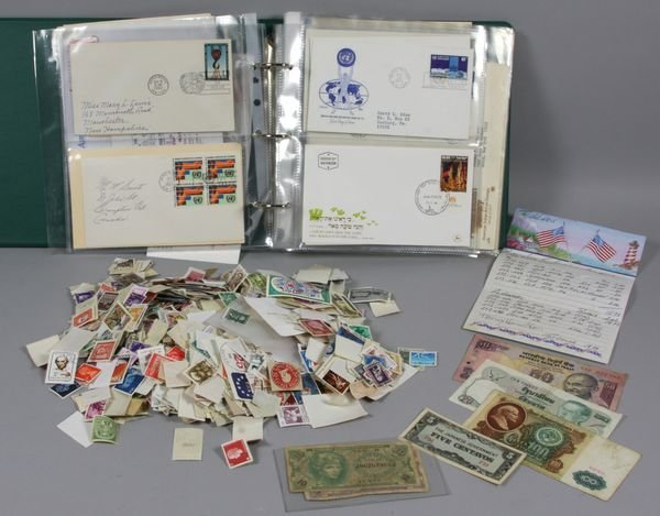 5011: Group of assorted materials including stamps, pap