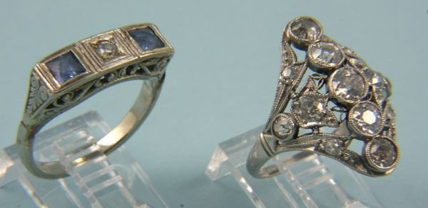 5024: Group of two (2) gold and diamond rings