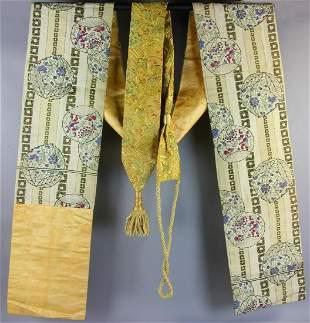Two Japanese Silk Kimono Koshi Himo