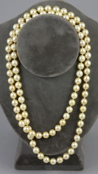 6152: Natural golden color South Sea pearl necklace