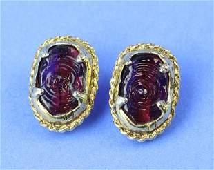 Pair of Vintage Chanel Purple Stone Earrings