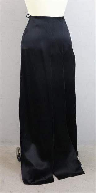 Chanel Black Satin Long Skirt