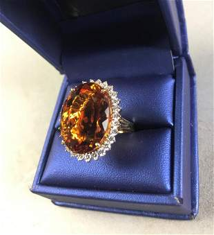 18k Yellow Gold, Citrine and Diamond Ring
